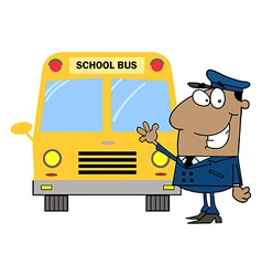 African american driver in front of school bus vector