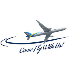 Airplane flying and advertisement words vector image