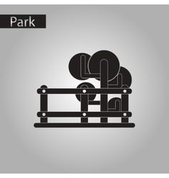 Black and white style icon tree fence vector
