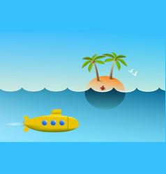 Cartoon submarine floats underwater near the vector