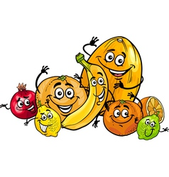 citrus fruits group cartoon vector image
