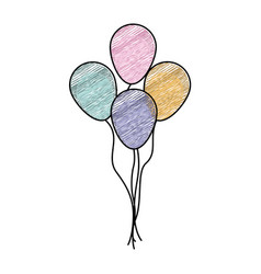 Color pencil drawing of set decorative balloons vector