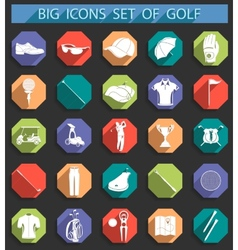 Creative icons on of golf in flat style vector image vector image