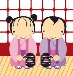 Cute couple japanese vector