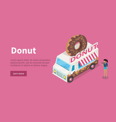 donut conceptual isometric web banner vector image vector image