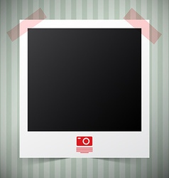 Empty photo film frame with camera icon on retro - vector