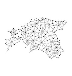 Estonia map of polygonal mosaic lines network ray vector