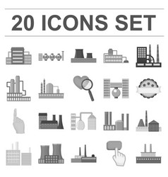 Factory and facilities monochrome icons in set vector