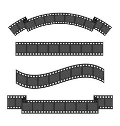 Film strip frame four set different shape ribbon vector