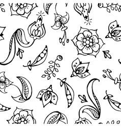 floral paisley hand drawn seamless pattern vector image vector image