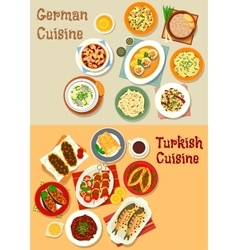 German and turkish cuisine icon for menu design vector