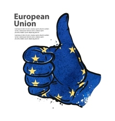 hand gesture thumb up flag of the European Union vector image vector image