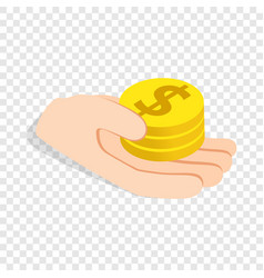 hand holding coins isometric icon vector image
