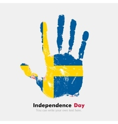 Handprint with the sweden flag in grunge style vector
