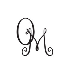Handwritten monogram om icon vector