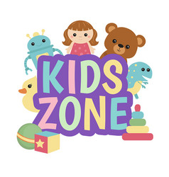 kids zone banner design kids zone banner design vector image vector image