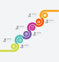 Modern infographics six circle process template vector