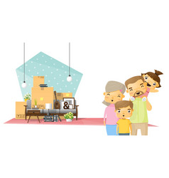 Moving home concept background with happy family vector