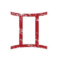 Red grunge Gemini logo vector image vector image