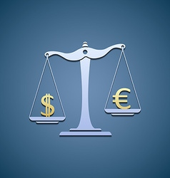 Scales with dollar and euro vector image vector image