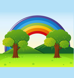 scene with rainbow in the park vector image
