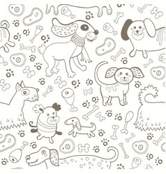 seamless pattern of dogs in black and white vector image