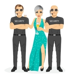 Security guard with protecting famous woman vector