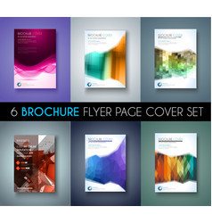 Set of 6 Brochures templates Flyer Designs or vector image