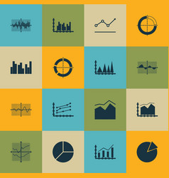 Set of graphs diagrams and statistics icons vector
