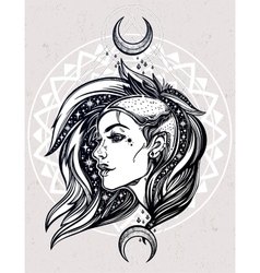 Sexy young punk girl face with stars and moons vector