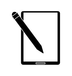 Silhouette tablet pen digital technology vector