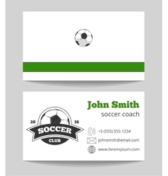 Soccer club business card green vector