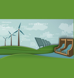 Solar panel and wind turbine hydroelectric plant vector