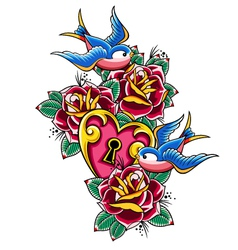 Style tattoo swallow rose heart vector