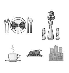 Vase with a flower table setting fried chicken vector