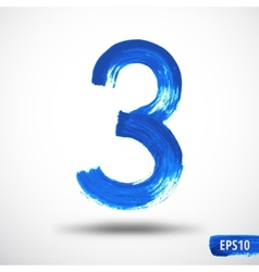 Watercolor Three Number Grunge Background vector image