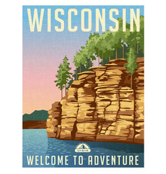wisconsin scenic travel poster vector image vector image