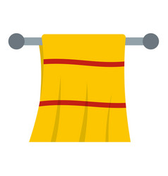 Yellow towel hanging on hanger icon isolated vector