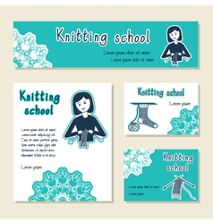 Set of cards template for knitting school yarn vector