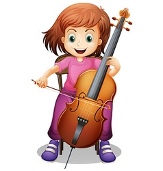Girl playing cello on the chair vector