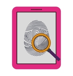 Isolated fingerprint and laptop design vector