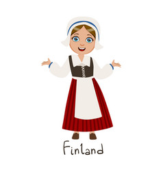 Girl in finland country national clothes wearing vector
