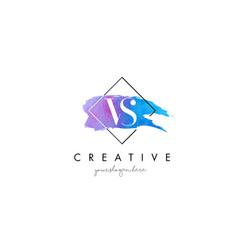 Vs artistic watercolor letter brush logo vector