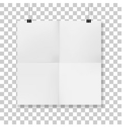 Squared hanged folded paper sheet vector