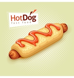 Hot dog on vintage background vector