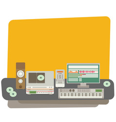 Sound recording studio flat vector