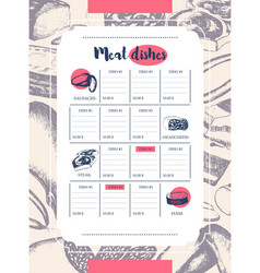 Processed meat - hand drawn template menu vector