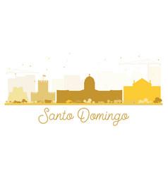 Santo domingo city skyline golden silhouette vector