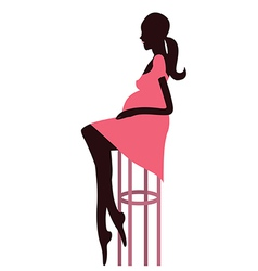 Fashionable pregnant woman sitting on the bar vector