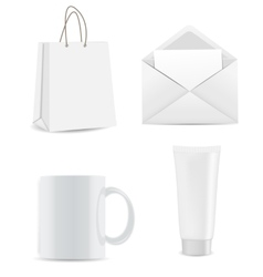 Empty shopping bag envelope and cup for vector